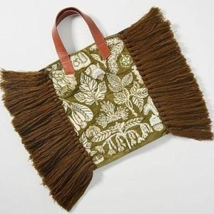 New Anthropologie Caissie Fringed Beaded Tote Bag